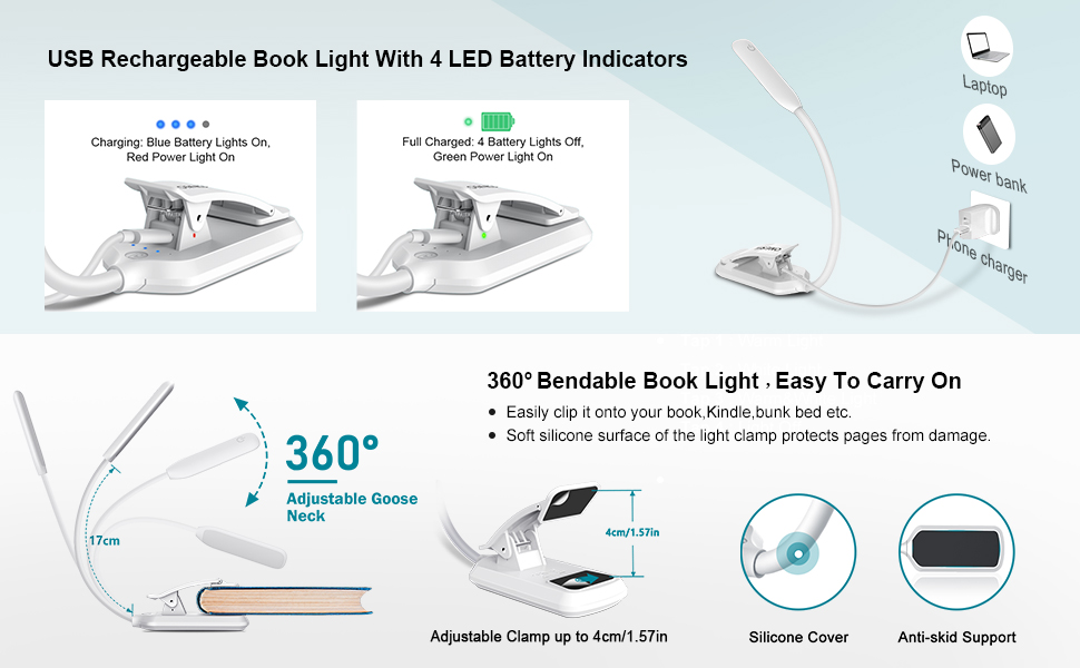 Bovon Reading Light with Clip Flexible USB Eye-Care Desk Lamp for Kids Adults Reading in Bed Cool and Warm Rechargeable 30 LEDs Book Light with 3 Brightness and Touch Switch
