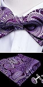 purple self tie bow tie