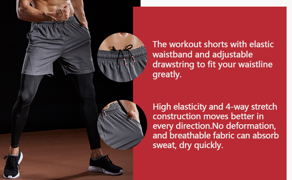 The workout shorts with elastic waistband and adjustable drawstring to fit your waistline  greatly.