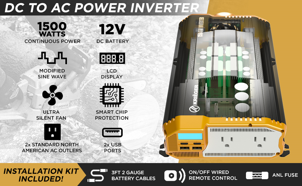 inverter accessories dc 12v to ac converter watts continuous instantaneous outlets