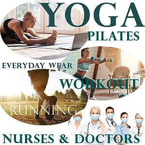 yoga, pilates, everyday wear, workouts, running, nurse, doctor, compression socks