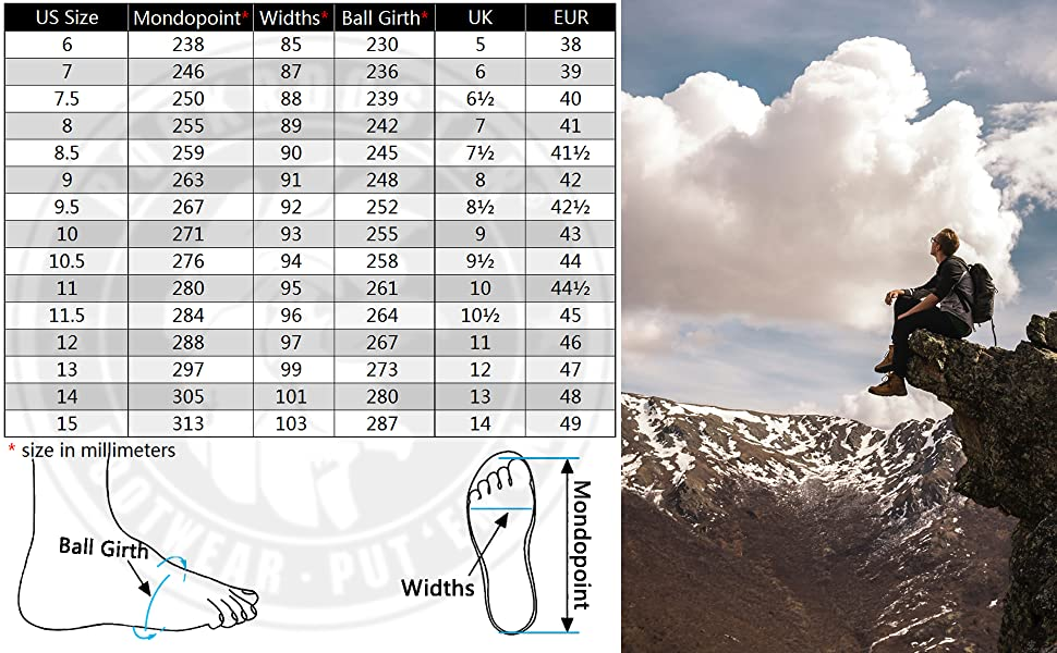 KS Series Rockrooster logger boots size chart