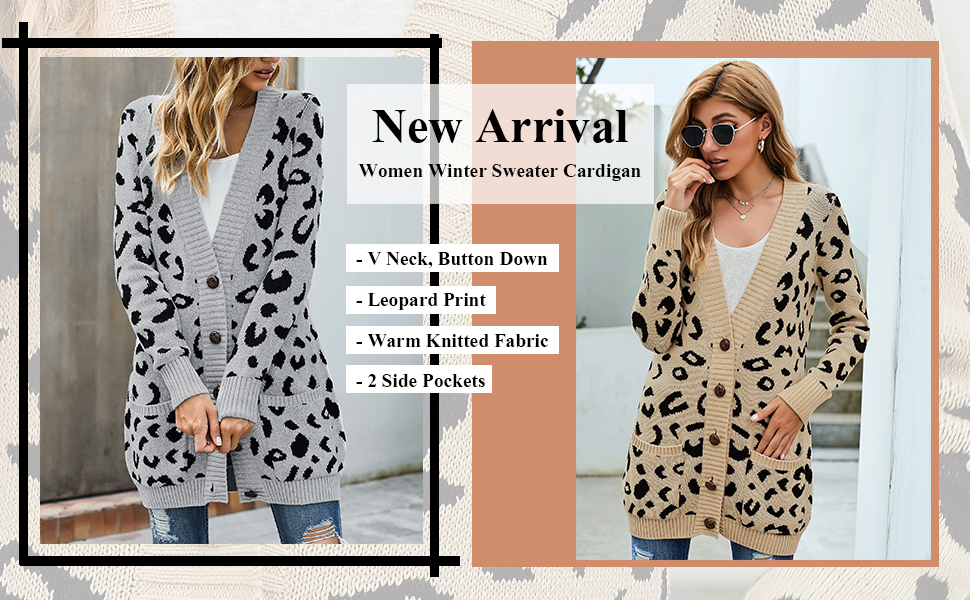 ladies open front button down sweater cardigan coat leopard printed long sleeve fall ribbed knit