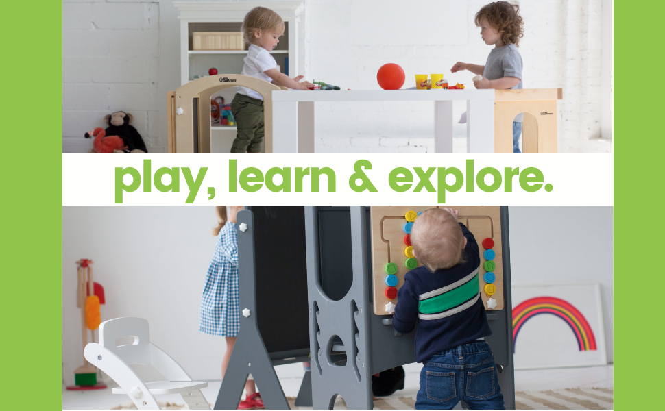 Little Partners. Play learn explore, easels, chairs, learning tower, kitchen helper