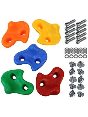 ALPIDEX Presas de Escalada para niños , Capacidad de Carga 200 kg , Material de fijación Incluido , Diferentes cantidades Multicolores - 10 Piezas