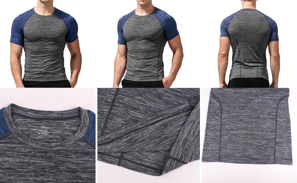 Hommes Maigre Serr/é Compression Couche de Base Manche Courte T-Shirt La Musculation Tops Polyester et Spandex
