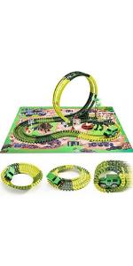 Dinosaur Slot Car Track Playset w Mat