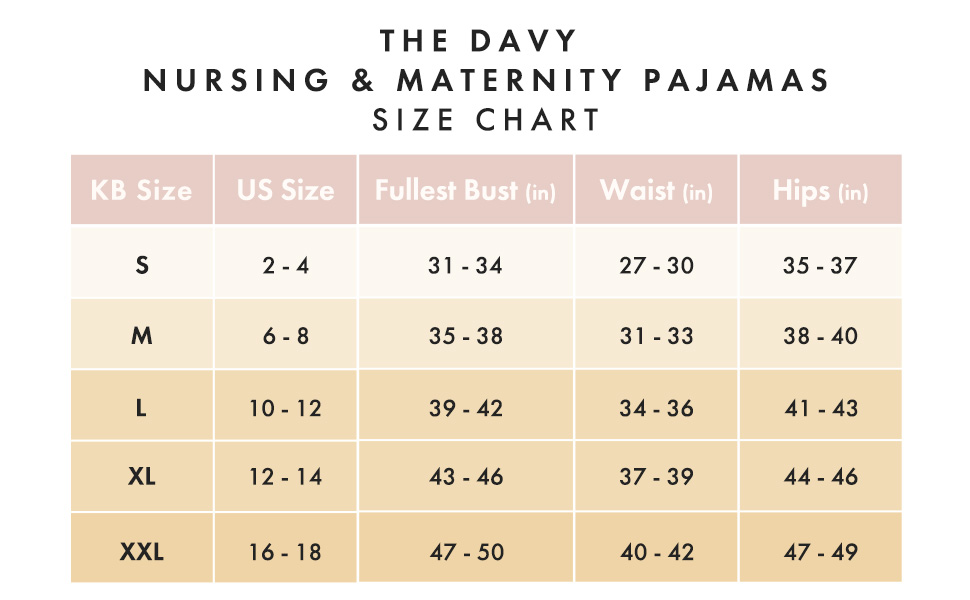 Davy Size Chart