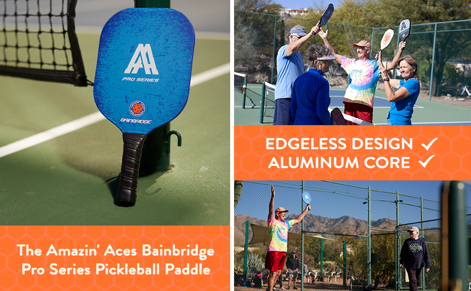 Pickleball Paddle Edgeless Design Aluminum Honeycomb Core with Graphite & Fiberglass Rimless Face