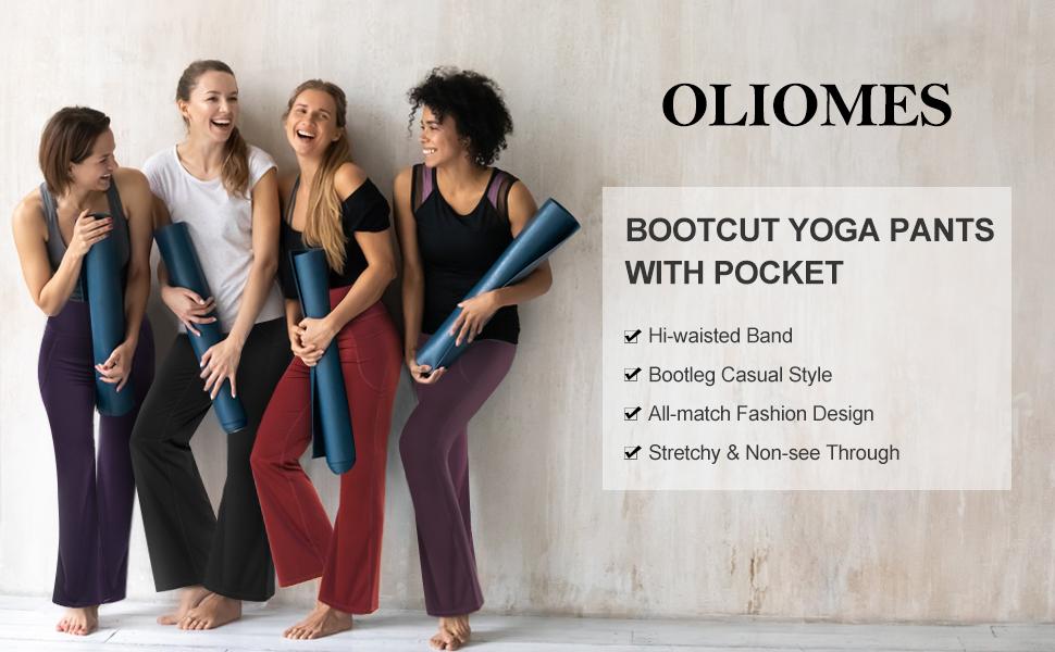 OLIOMES BOOTCUT YOGA PANTS WITH POCKET FLARED LEGGINGS - 1
