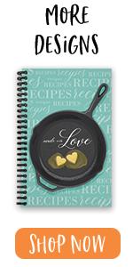 "softcover, 5.5"" x 8.5"", recipes, homemade, love, skillet"