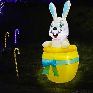 Inflatable Easter Bunny on Yellow Egg