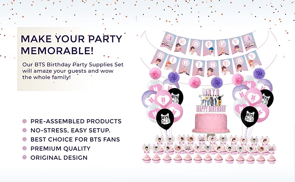 spiral flags Regus-24 PCS BTS party supplies banners-used for party decoration BTS theme party supplies with cake top hats banners and coils