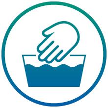 Blue hand in washbin icon.