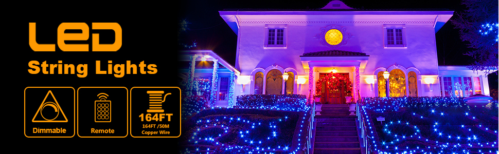 dimmable blue string lights