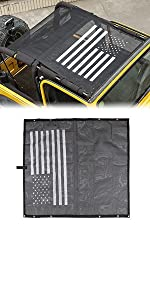 TJ US Flag Durable Polyester Mesh Shade Top Cover for 1997-2016 Jeep Wrangler TJ