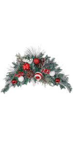 Home D/écor for Glittered Mistletoe Teardrop Swag White Berries Buds Crafts Christmas 14 x 6 Veryn Supplier for Home D/écor