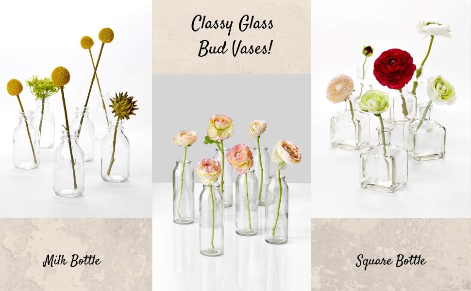 Milk Bottle and Square Bottle Bud Vases for Parties Weddings Restaurants Spa