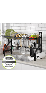 2-Tier Compact Kitchen Dish Rack with Drain Board Utensil Holder Non-Slip Cup Holders 304 Stainless