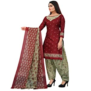 Rajnandini Women's Green Cotton Printed Unstitched Salwar Suit Material
