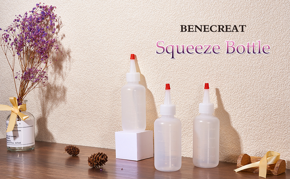 Art BENECREAT 20Pack 2 Ounce Plastic Squeeze Dispensing Bottles with Red Tip Caps Glue Good for Crafts Multi Purpose