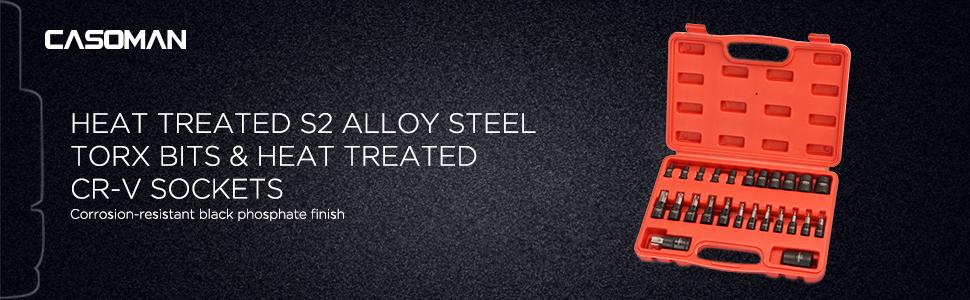Heat Treated S2 Alloy Steel Torx Bits amp; Heat Treated CR-V Sockets  Corrosion-Resistant Black