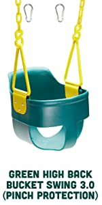 Green High Back Full Bucket Toddler Swing Seat 3.0