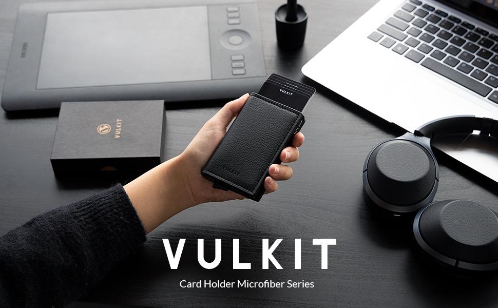 VULKIT Porte-Cartes de Cr/édit Homme Porte Carte Bancaire en Cuir RFID Portefeuille Pop Up avec 3 Emplacements for Cartes /& Billets Gris Fer