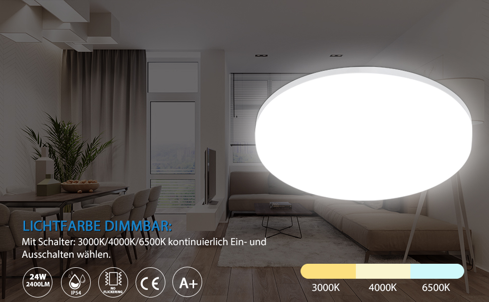 LED plafondlamp dimbaar door lichtschakelaar 3000K/4000K/6500K