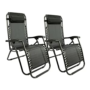 Set di 2 sedie a sdraio – Nero