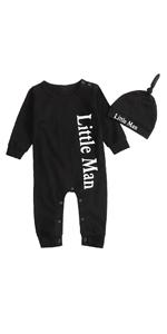 DUBASAM Newborn Baby Boys Little Man Romper Jumpsuit Long Sleeve Playsuit with Hat Set