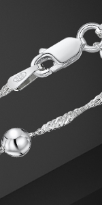 """Amberta 925 Sterling Silver 1.4 Singapore Chain Bracelet Size with 4 mm Ball Beads 7"""" 7.5"""" in"""
