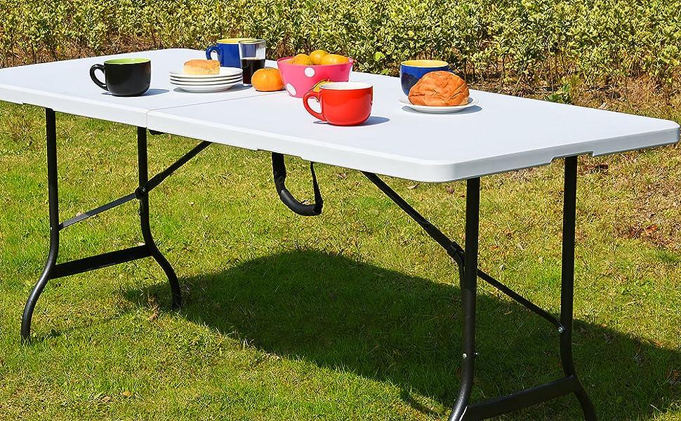 Casaria Mesa Plegable Multifuncional 220x70x72cm Blanca para Camping jardín compacta portátil Catering