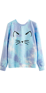 tie dye cute cartoon print cat printed loose casual sweatshirt pullover blouse top shirts