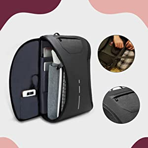 "STEEZE 360 Degree Anti Theft Laptop Backpack Bag with USB Charging Port for 15.6"" to 17 '' SPN FOR 1"