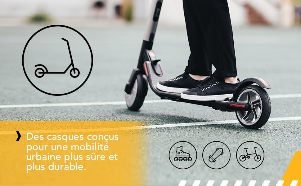 casque trotinette electrique adulte femme skate scooter vélo lumiere led e-scooter vtt vtc