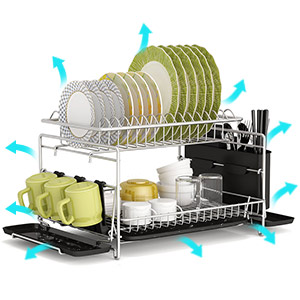 Dish Drying Rack, GSlife 304 Stainless Steel 2 Tier Dish Rack with Trays, Utensil Holder
