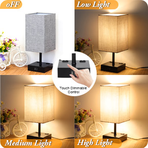 touch dimmable control 3-level brightness table lamp nightlight 6w st64 led bulbs 2700k warm white