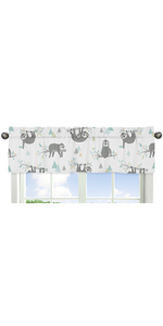 Blue and Grey Tropical Leaf Window Valance - Turquoise, Gray Green Botanical Rainforest Jungle Sloth