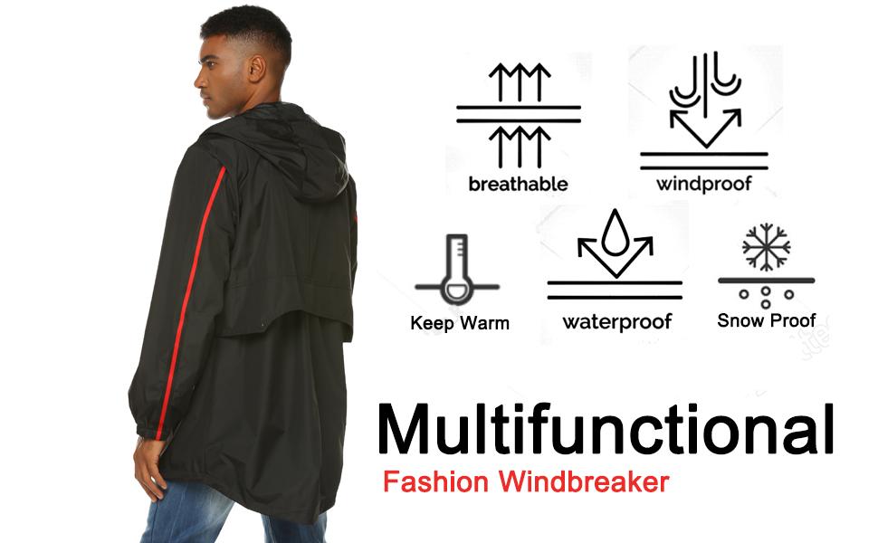 iWoo Zhenwei Mens Breathable Rain Jacket Waterproof with Hood Lined Windbreaker