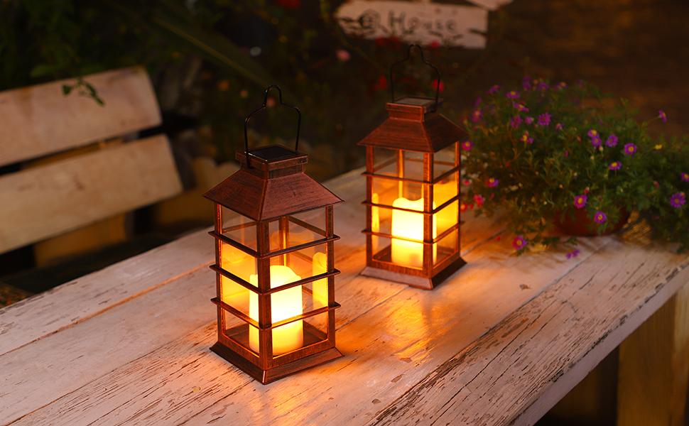 Solar Powered Lighted Christmas Lantern Lamp Planter Greenery Berry Pine cones *