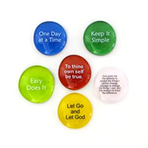 recovery stones, let go and let god, one day at a time, sponsor gift, keep it simple, aa sayings