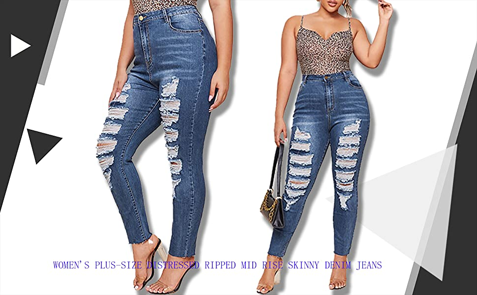 Women's Plus-Size Distressed Ripped Mid Rise Skinny Denim Jeans…