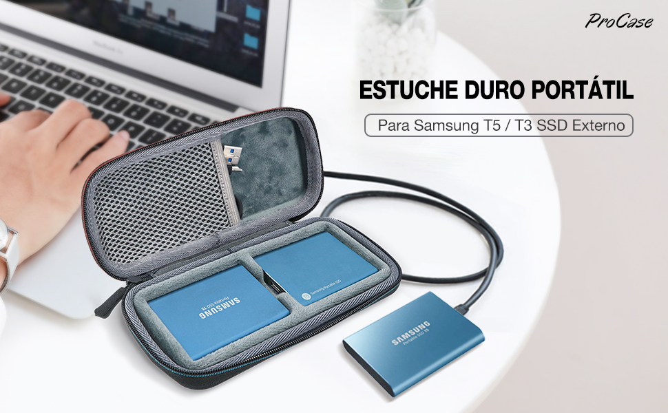 ProCase Estuche de Viaje para 2 Unidades de Samsung T5/T3, Funda ...