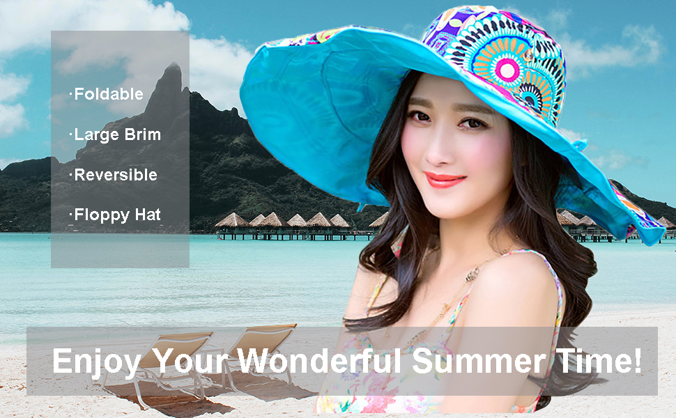 Womens Large Wide Brim Sun Hat Floppy Foldable Roll up Cap Beach Sun Hat UPF 50+