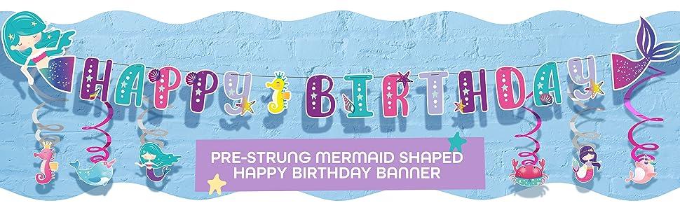 mermaid happy birthday banner hanging swirls decorations