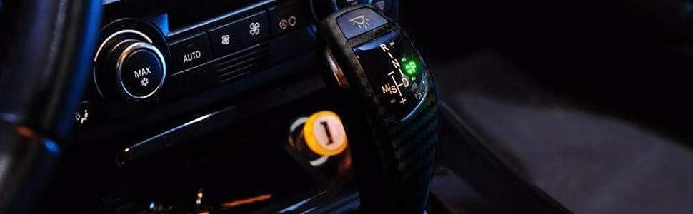 09-12 Z4 etc iJDMTOY F30 Style Carbon Fiber Finish LED Illuminated Shift Knob Gear Selector Upgrade Compatible With 06-12 BMW E90 3 Series Sedan 07-10 E92 E93 3 Series Coupe//Convertible 10-12 X1