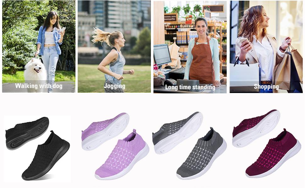 Womens Comfort Elastic Sock Slip On Walking Shoes Lightweight Non-Slip Breathable