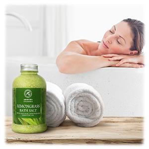 Bath Salts w/Natural Essential Lemongrass Oil 600g - Sea Salt Bath for Good Sleep - Bathing -