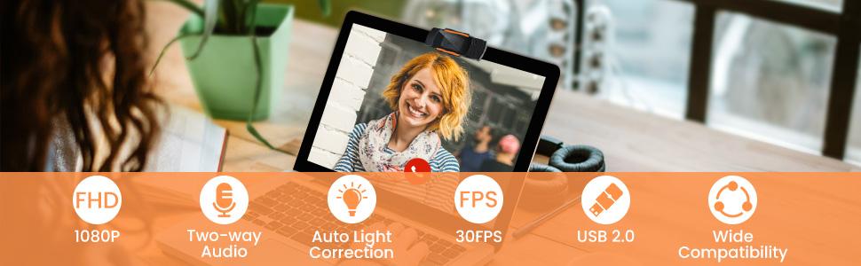 Webcam con Micrófono para PC Cámara Web HD 1080P para PC Portátil